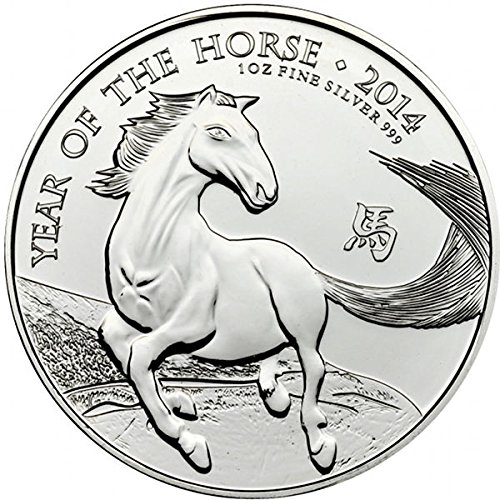 2014 1 oz Silver British Year of the Horse Coin (BU) (The Horse Coin)