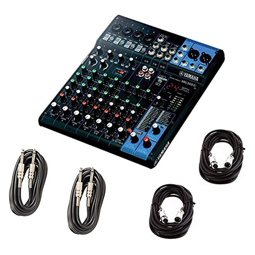 Yamaha MG10XU 10 Input Stereo Mixer (with Compression, Effects, and USB) w/Cables MG10XU BUNDLE