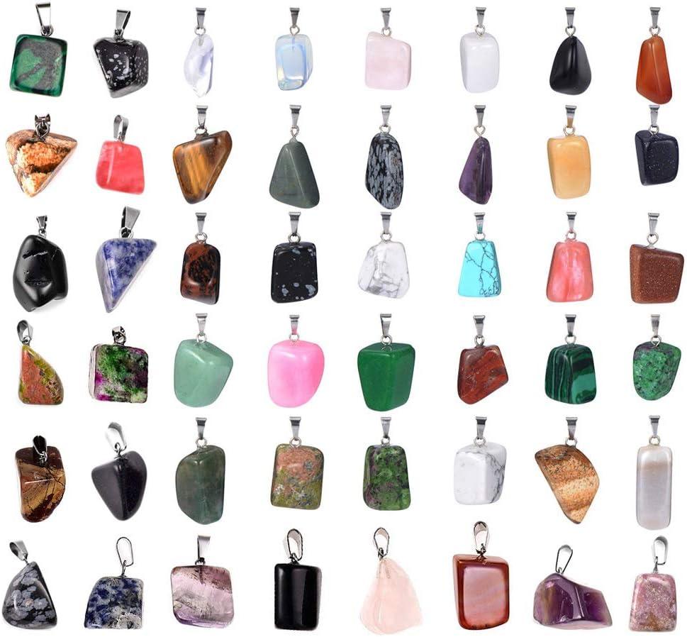 50 colgantes irregulares con piedras de curación y piedras de cristal, colgantes de cuarzo para collares, joyería y bolsa de almacenamiento.