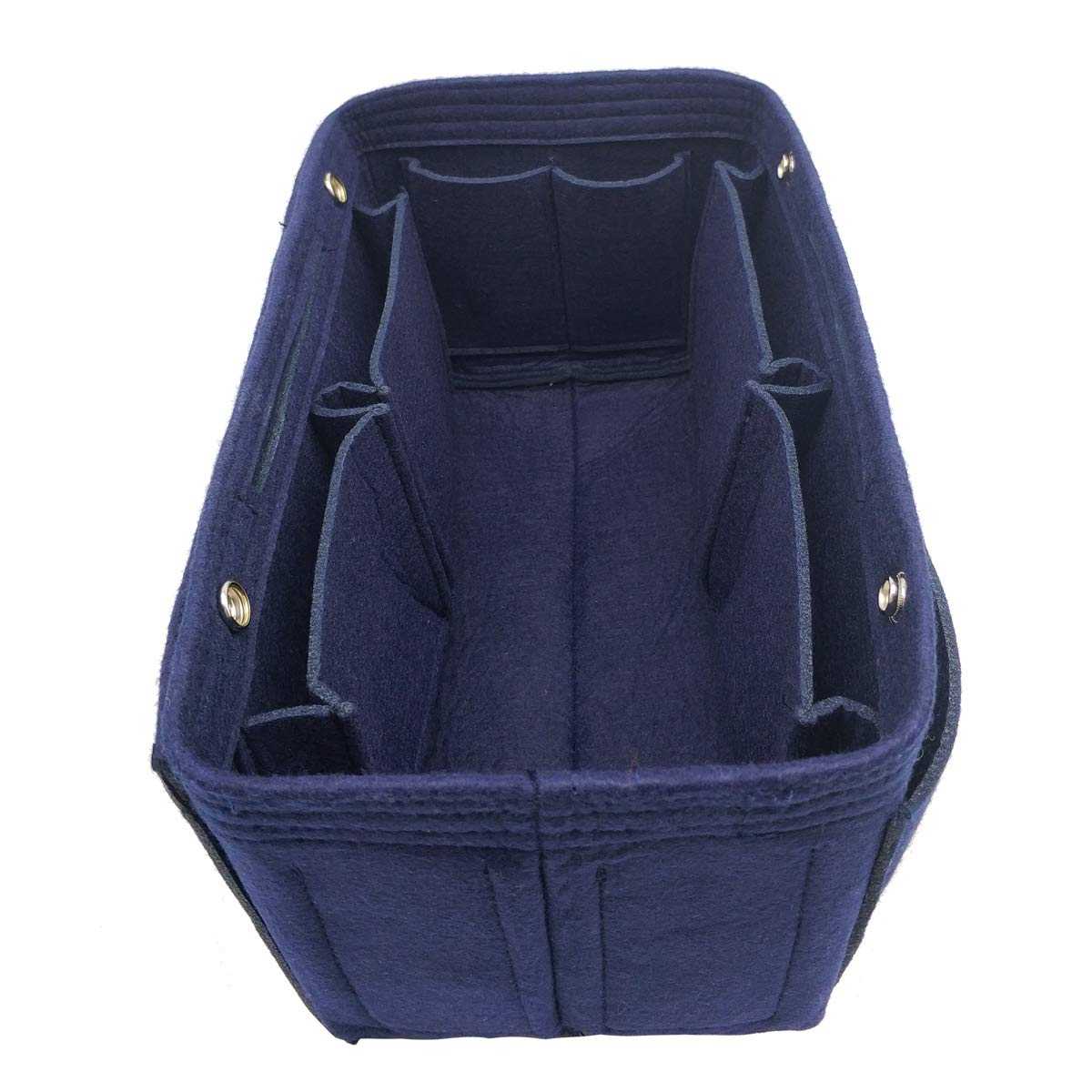 LEXSION Felt Fabric Purse Handbag Organizer Bag - MultiPocket Insert Bag Dark Blue L