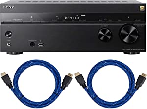 Sony STR-DN1080 7.2-Channel Dolby Atmos Surround Sound AV Home Theater Receiver with 2X Knox Gear Nylon-Braided 4K HDMI Cables (6-Foot Each) Bundle (3 Items)
