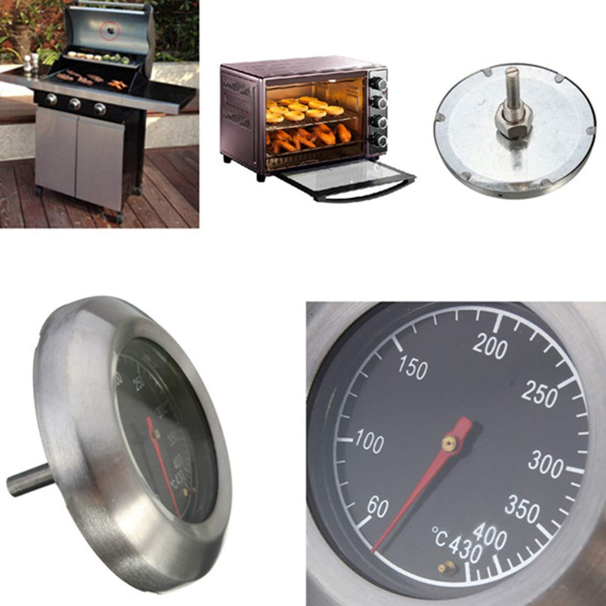 SunshineFace Thermom/ètre pour barbecue 60-430 ℃ 3 jg Diam/ètre