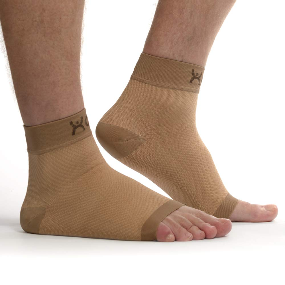 XOX Plantar Fasciitis Compression Sleeves with Arch Support for Men & Women - FDA Medical Grade Socks for Instant Heel, Ankle and Plantar Fasciitis Pain Relief-Treatment for Everyday Use (Nude Color)