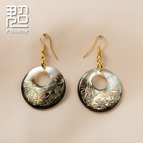 usongs Sea shells and mother pearl earrings earrings carved malachite green light oval ethnic characteristics -