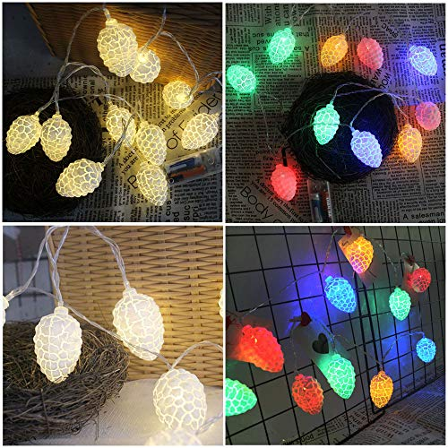 (Clearance!!! Glumes 10 LED 4.92FT Christmas Pine Cones Shape String Lights Battery Operated, Fairy String Light for Home Christmas Tree Party Xmas Holiday Wedding New Year Garden Decoration)