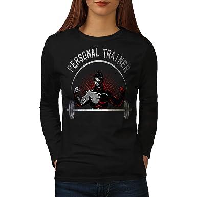 c4c1d8d2a wellcoda Personal Trainer Job Womens Long Sleeve T-Shirt, Lifting Graphic  Design Black S
