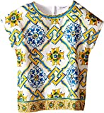 Dolce & Gabbana Kids Girls' Medallion Print Top (Little Kids), Tile Print, 4T (Toddler)
