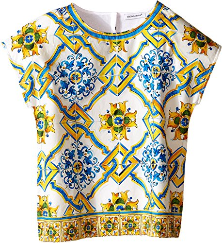 Dolce & Gabbana Kids Girls' Medallion Print Top (Little Kids), Tile Print, 4T (Toddler) by Dolce & Gabbana
