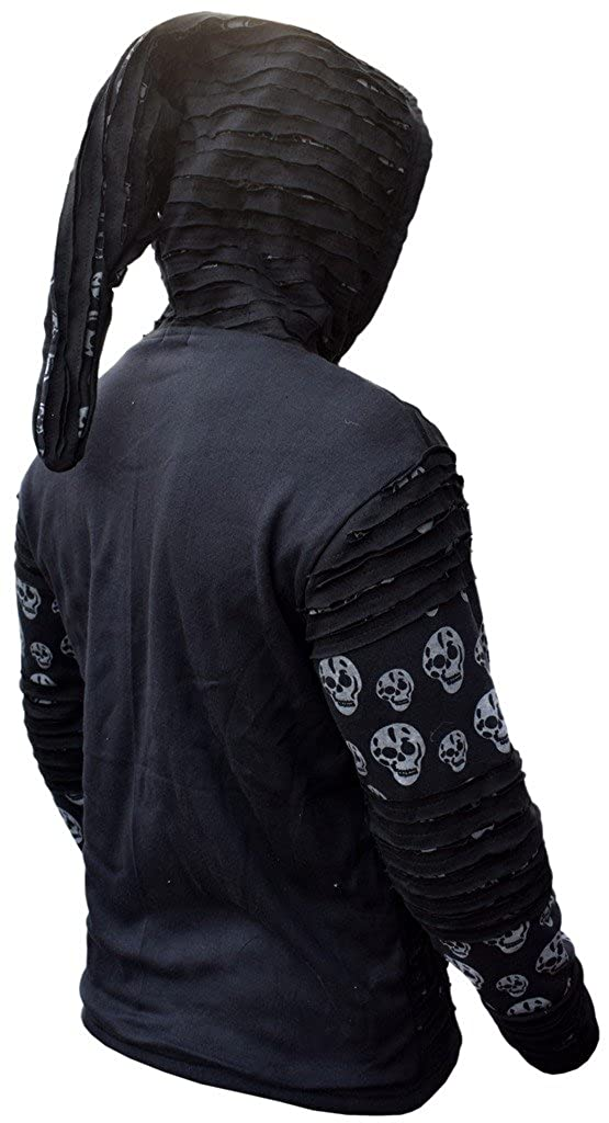 Little Kathmandu Mens Skull Printed Razor Cut Black Goth Jacket