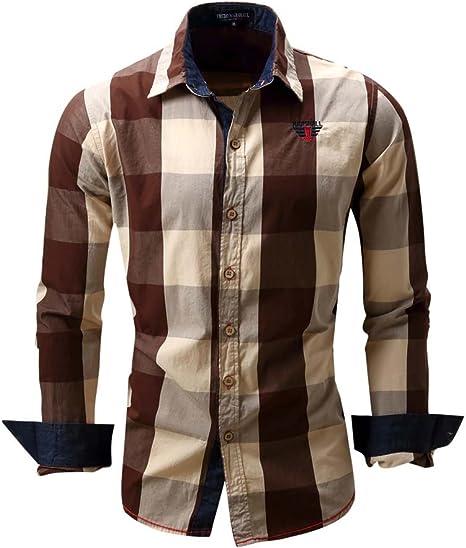 Mena UK Ocio Camisa Hombre 100% Algodón Textura Avanzada Camisa A Cuadros (Color : Marrón, Tamaño : L): Amazon.es: Deportes y aire libre