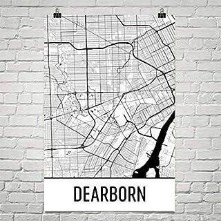 Carte Dearborn, Art Dearborn, Impression Dearborn, Affiche Dearborn MI, Art Mural de Dearborn, Cadeau de Détroit, Carte de Detroit, Michigan Affiche 24'x36 Cadeau de Détroit Michigan Affiche 24x36 Modern Map Art
