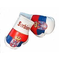Mini Boxhandschuhe SERBIEN, 1 Paar (2 Stück) Miniboxhandschuhe z. B. für Auto-Innenspiegel