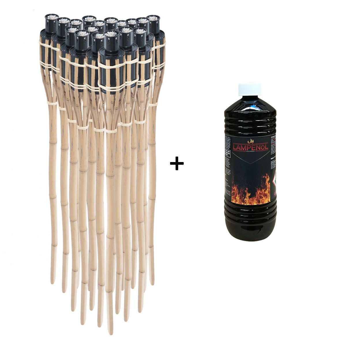 DXP 18 x Natural Handmade Bamboo Garden Tiki Torches with 1L Lamp and Torch Oil - Oil Burning - 3Ft / 90CM - Resuable Oil Lantern