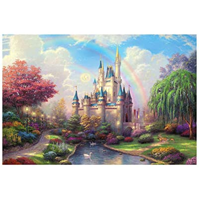 1000 Piece Large Jigsaw Puzzle for Adults - Dream Landscape Puzzles - 1000 PC Forest Hut/Rainbow Castle Jigsaw Puzzle Game Interesting Toys - Hand Made Puzzles Personalized Gift (Rainbow Castle): Arts, Crafts & Sewing