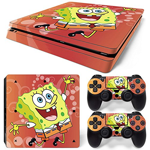 SpongeBob SquarePants PS4 Slim Vinyl Skin Sticker Decal Cover for Sony PlayStation 4 PS4 Slim Console Controller