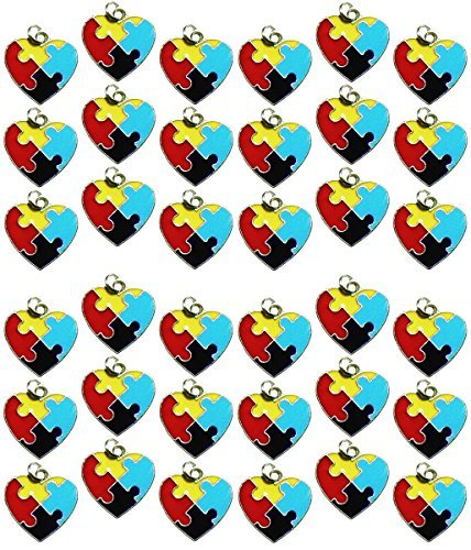 Awareness Puzzle Piece Heart Jewelry Charms Package of 36 ()