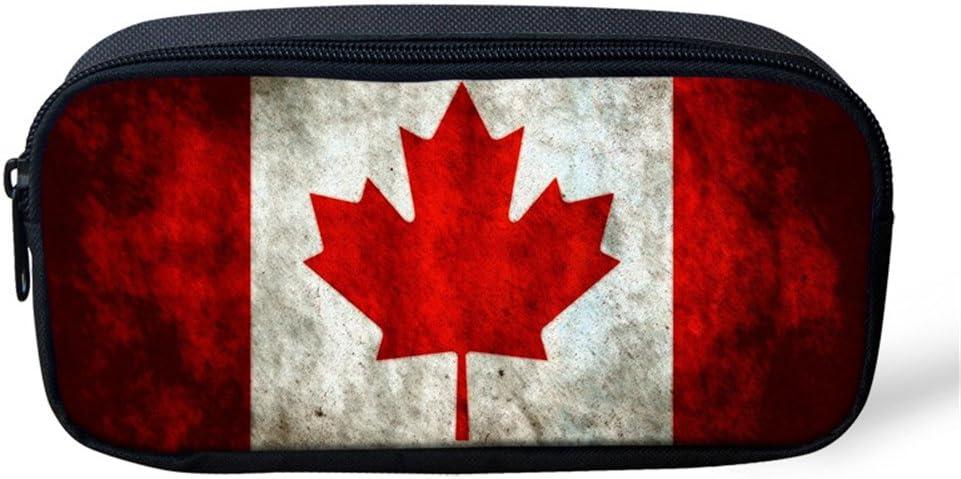 Hugs Id/ée Motif drapeau Trousse Pen Sac papeterie Pouch 8.66x1.77x4.33 inches Canada Flag