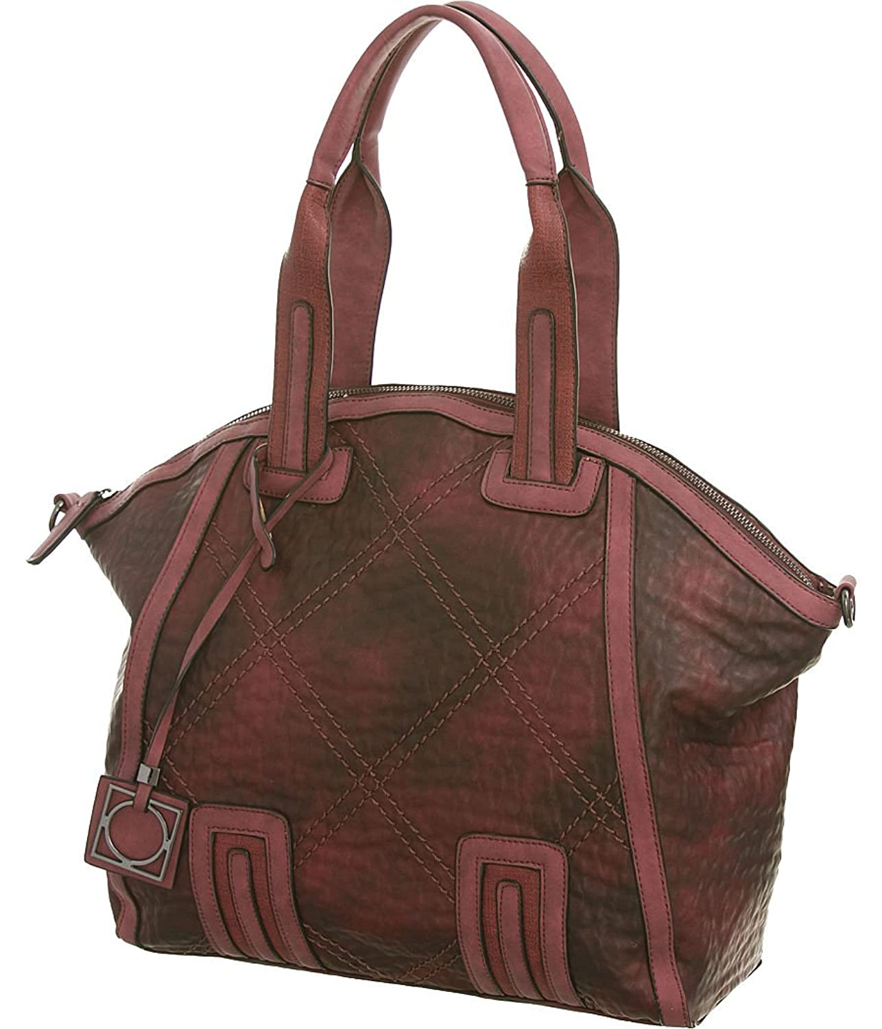 Diamond Stitches Oversized Traveler's Tote Bag with Attachable Shoulder Strap