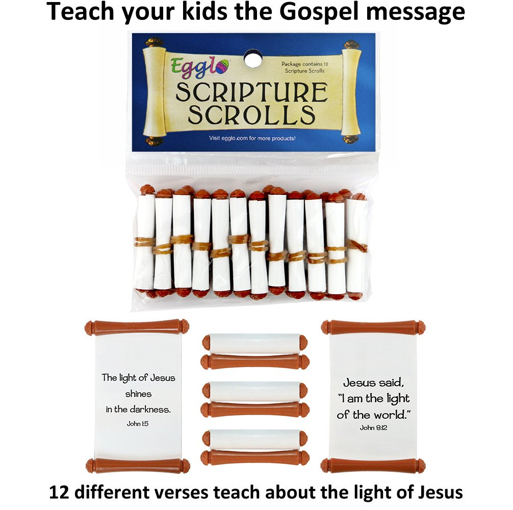 Egglo Eggs VBS Scripture Scroll Toys (12 Pack) - Fun Religious/ Christian  Kid's Toys for Sunday School Prizes or Party Favors