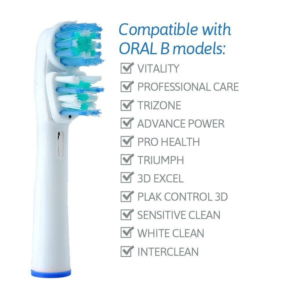 Cepillo de dientes eléctrico de reemplazo doble cabezal de la marca YUMSUM genérico SB 417A / EB417 4 para Oral B y Braun mangos Clean Pro Care blanco 4 ...