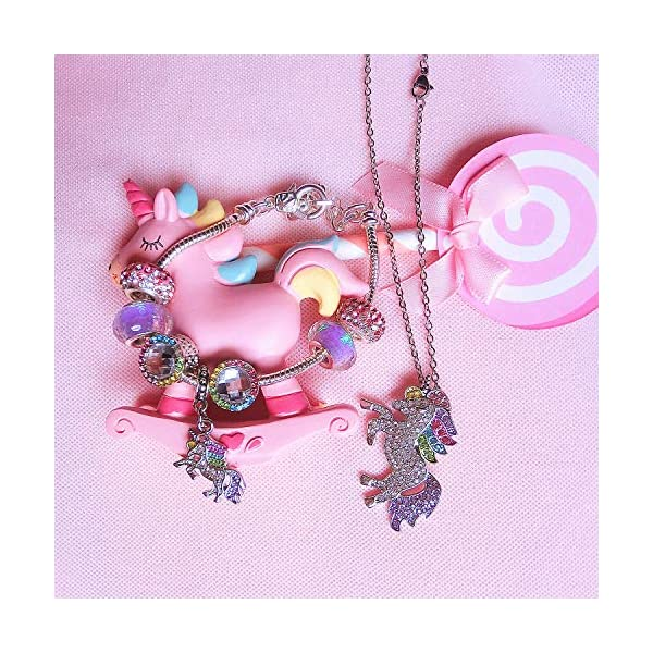 SHWIN Unicorn Gifts – Rainbow Unicorn Necklaces Charm Bracelets for Girls Women Jewelry Set