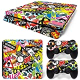 Ps4 Slim Playstation 4 Console Skin Decal Sticker Graffiti + 2 Controller Skins Set
