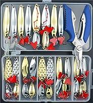 Smartonly 32 pcs SetFishing Lures Hard Spoon Metal Lures Hard Bait Saltwater Fishing Pliers Fishing Lure Metal