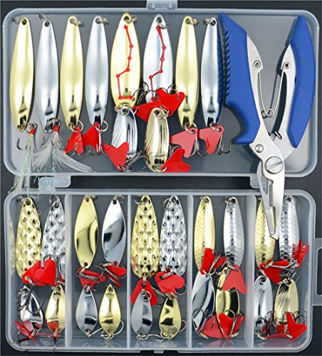 (Lyu Bao 31PCS Fishing Lures Spoon Metal Lures Hard Bait Saltwater Fishing Pliers Fishing Lure Metal Treble Hooks Tackle Salmon Bass,Pike,Musky Trout and Striper)