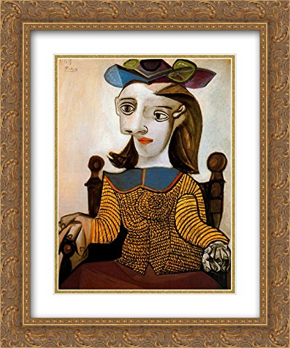 Yellow Gold Dora - Pablo Picasso 2x Matted 20x24 Gold Ornate Framed Art Print 'The yellow shirt (Dora Maar)'