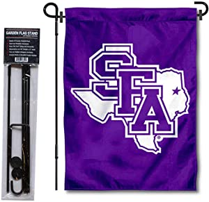 College Flags & Banners Co. Stephen F. Austin Lumberjacks Logo Garden Flag and USA Flag Stand Pole Holder Set