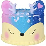 Clearance! Cartoon Cake Scented Squishy Toys, HOMEBABY 11cm Stress Relief Toys Squishy Jumbo Cream Scented Squishy Slow Rising Squeeze Strap Kids Gift Fun Soft Toy Jumbo Collection Easter Gift (**UK Children**, Deer-Galaxy)