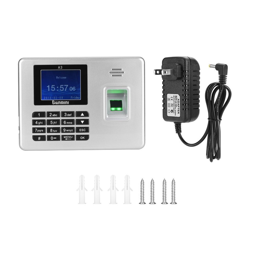 TFT Fingerprint Recorder, Fosa Fingerprint Password Attendance Machine Employee Checking-in Payroll Recorder 2.8 inch Time Attendance Clock for Employee Small Business Time-Tracking Recorder (Us Plug)