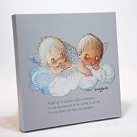 """Cuadro Infantil Angelitos nube azul y oración""""Angel de la guarda…"""" 30x30cm. Ilustración de Juan Ferrándiz impresa en…"""