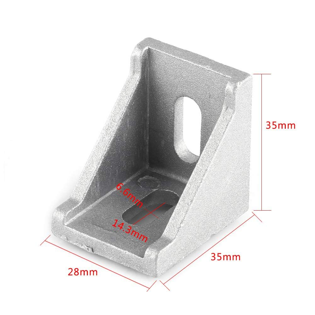 10 St/ücke 90 Grad Winkel Aluminium-Legierung L-F/örmige Metall Ecke Rechtwinkel Joint Rechts Winkel Halterung Silber 35 x 35 x 28mm