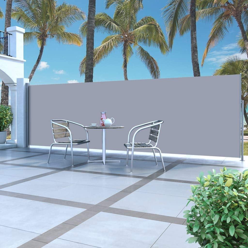 Tidyard Toldo Lateral de Aluminio retráctil terraza protección de Vivienda y de Base Postes Completo de Aluminio 160x500 cm Gris: Amazon.es: Hogar