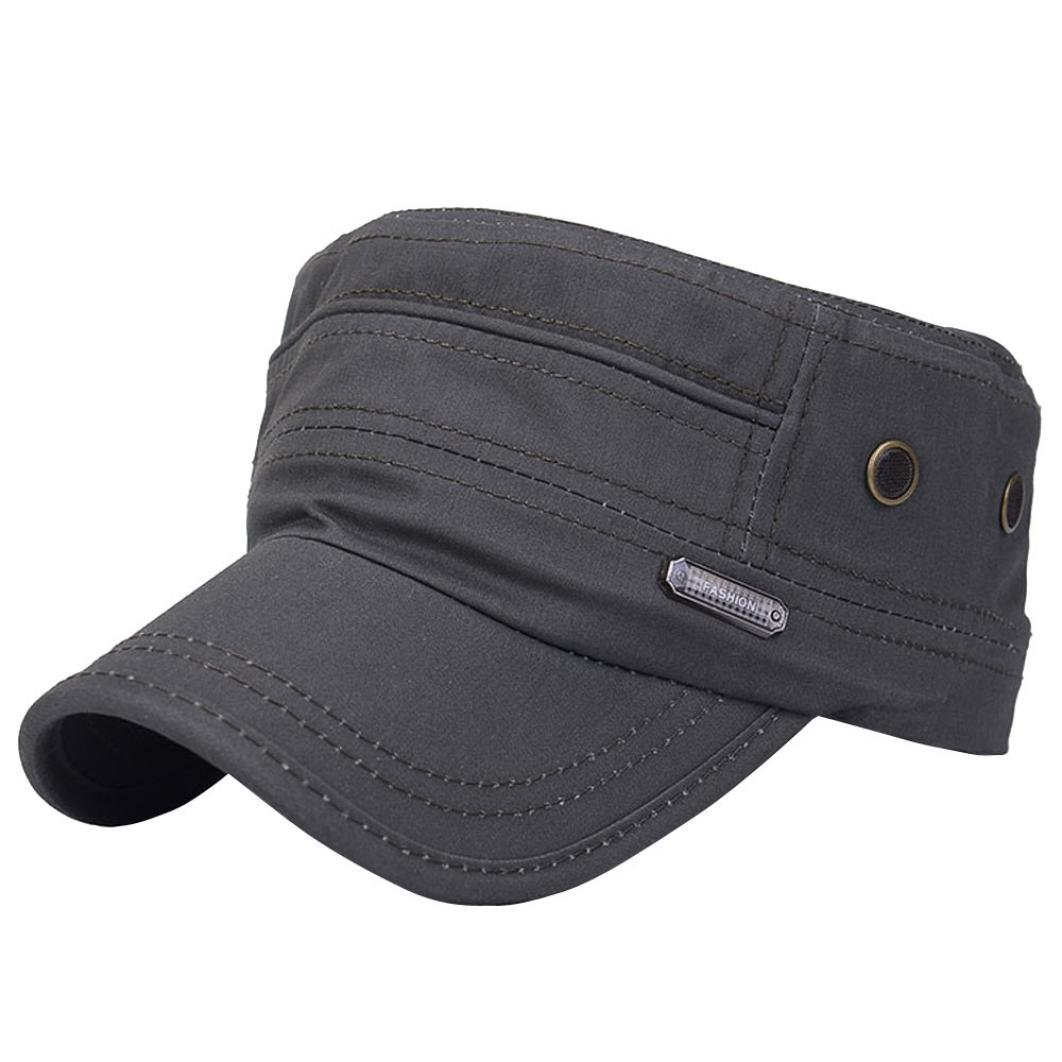 390dd6fa973ae4 Amazon.com : SUJING Military Caps Vintage Flat Top Cap Army Cap Cadet Hat  Military Flat Top Adjustable Baseball Cap (Black) : Sports & Outdoors