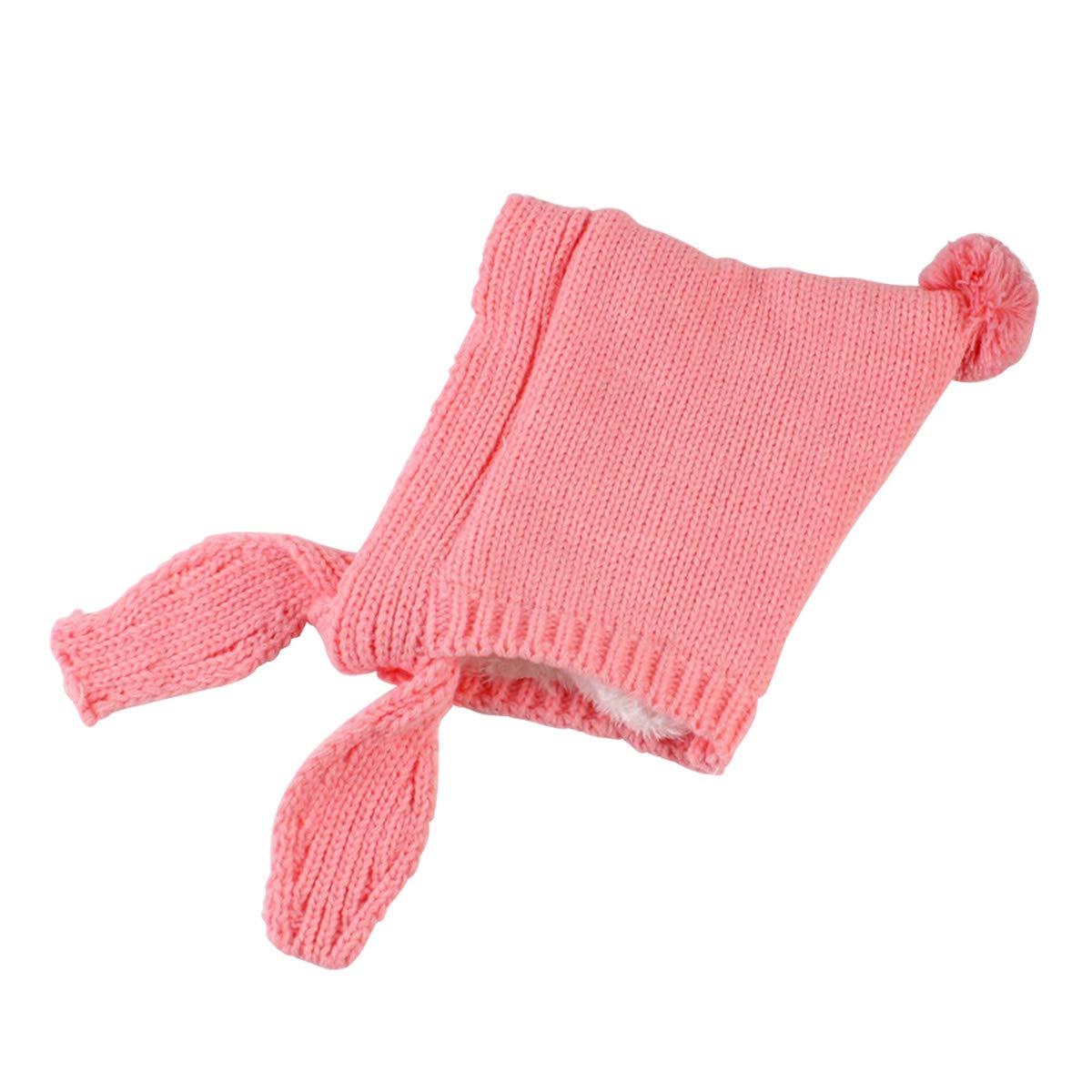Pink Baby Hats Infant Boys Girls Winter Earflap Knit Warm Spire Cap Hat with Pom Pom