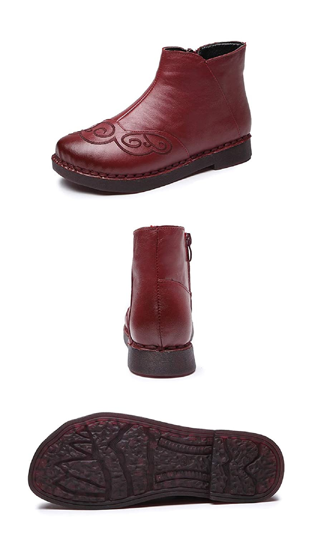 ZHRUI Stickerei Stiefel Damen Leder Zipper Flache Schuhe (Farbe   Rot Größe   EU 36)