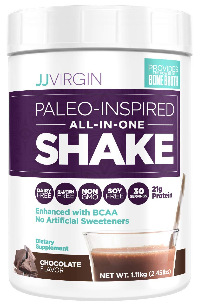 JJ Virgin Chocolate Paleo-Inspired All-in-One Shake - Paleo & Keto Friendly Protein Powder, 30 Servings