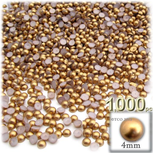 Dome Beads (The Crafts Outlet 1000-Piece Pearl Finish Half Dome Round Beads, 4mm, Golden Caramel Brown)