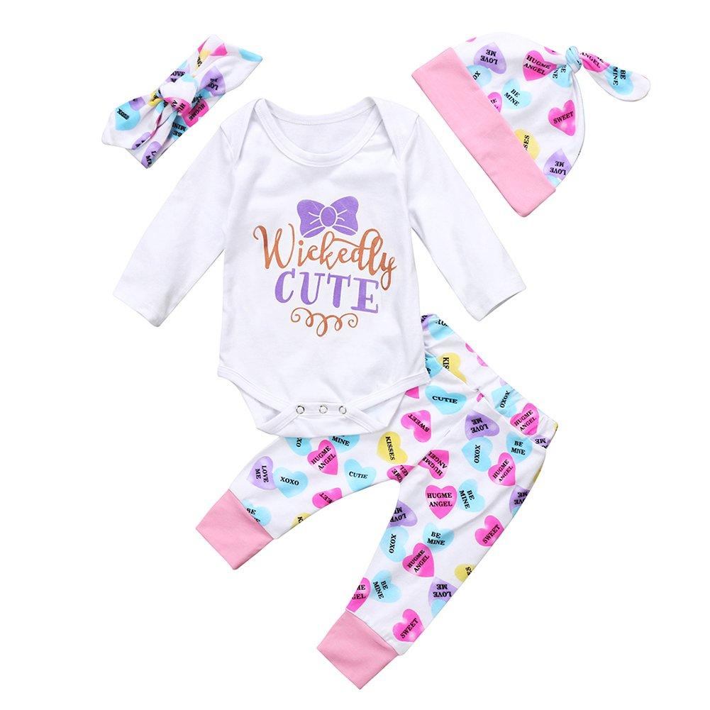 c999f1d6a Amazon.com: Baby Girls Cute Mommy Daddy's Miracle Clothes Bodysuit Heart  Pants Headband Hat Outfits Set: Clothing