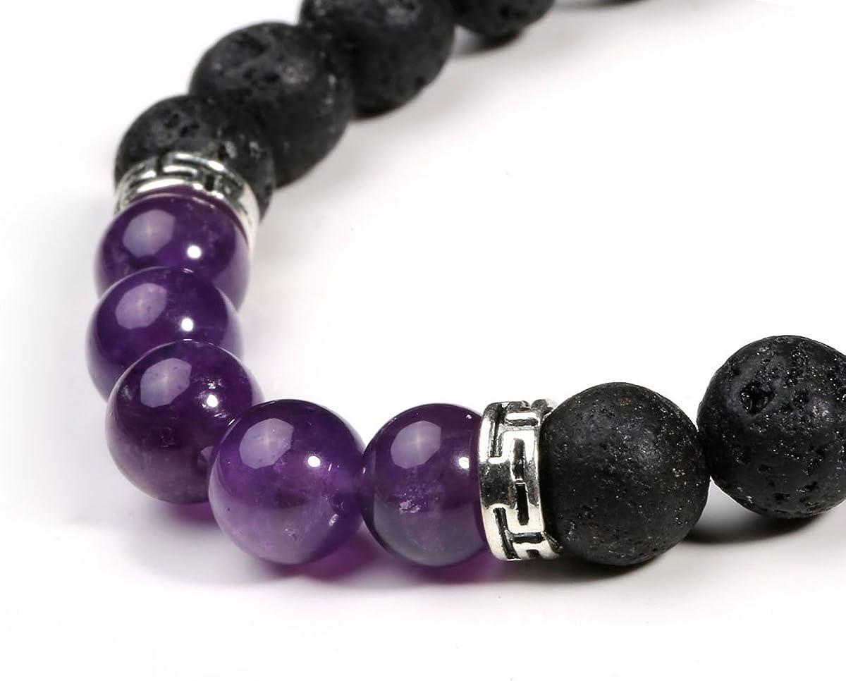 Eigso 1-8 Pcs 7 Chakra Energy Bracelets Set for Women Men Lucky Lava Rock Bracelet Stone Beads with Reiki Healing