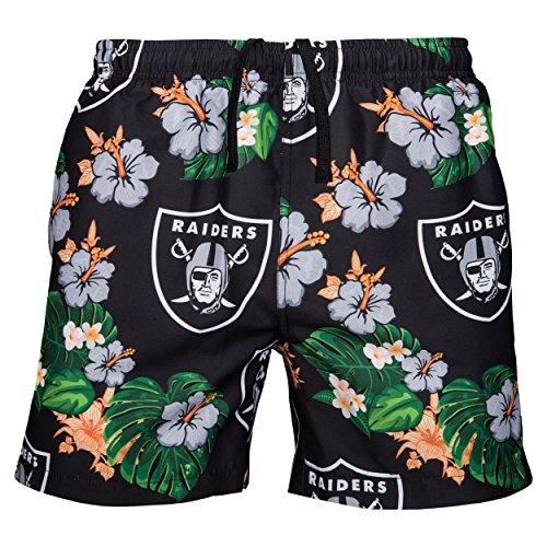 (NFL Oakland Raiders Mens Team Logo Floral Hawaiin Swim Suit Trunksteam Logo Floral Hawaiin Swim Suit Trunks, Team Color, XX-Large)
