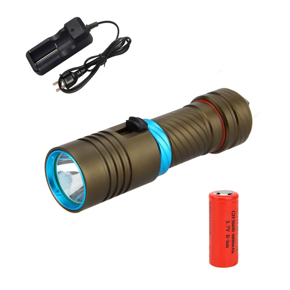 Underwater 100M CREE XM-L2 LED 5000LM Scuba Diving Flashlight Torch 26650 Charge FREE