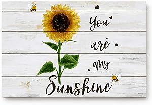 FAMILYDECOR Floor Doormat Carpet for Indoor Outdoor Entrance Way, You are My Sunshine Sunflower Wooden Grain Waterproof Door Mat Non-Slip Rugs Shoes Scraper for Home Garden Patio Garage, 16 x 24 inch