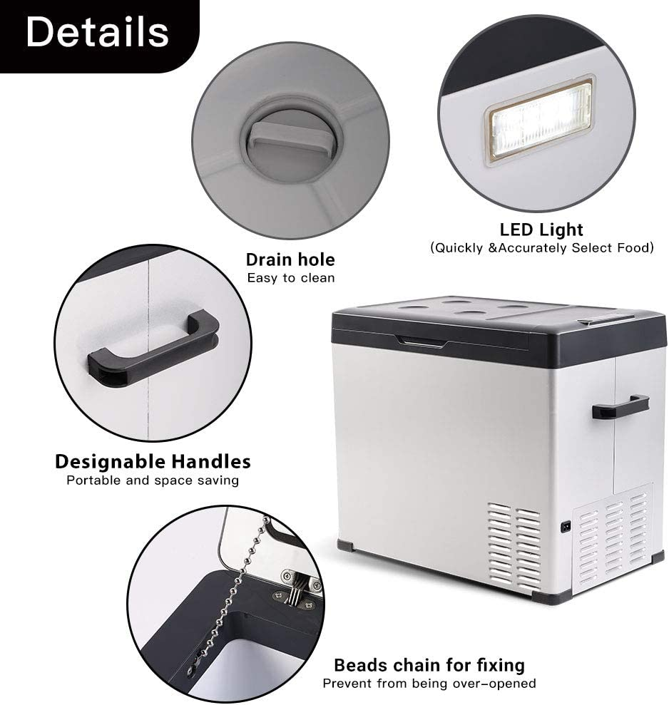 4/ºF Linsion 54 Quart RV Refrigerator//Freezer Compact Vehicle Car Fridge Compressor Electric Cooler for Car,Truck,RV,Boat,Outdoor and Home use 12//24V DC and 90-250 AC,Cooling to