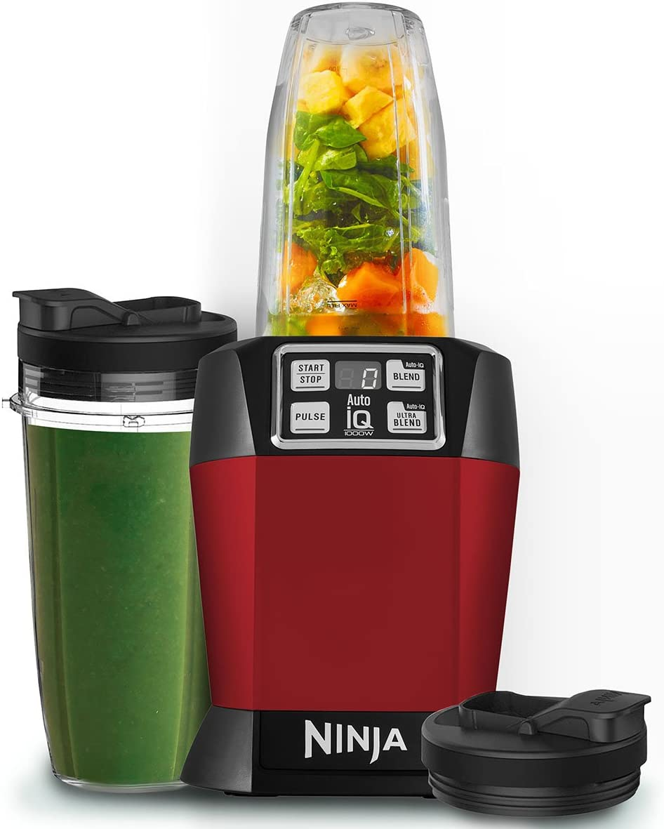 Ninja BL480UKMR Nutri 1000W Blender with Auto iQ BL480UKMR Red, 1810 Steel, Red