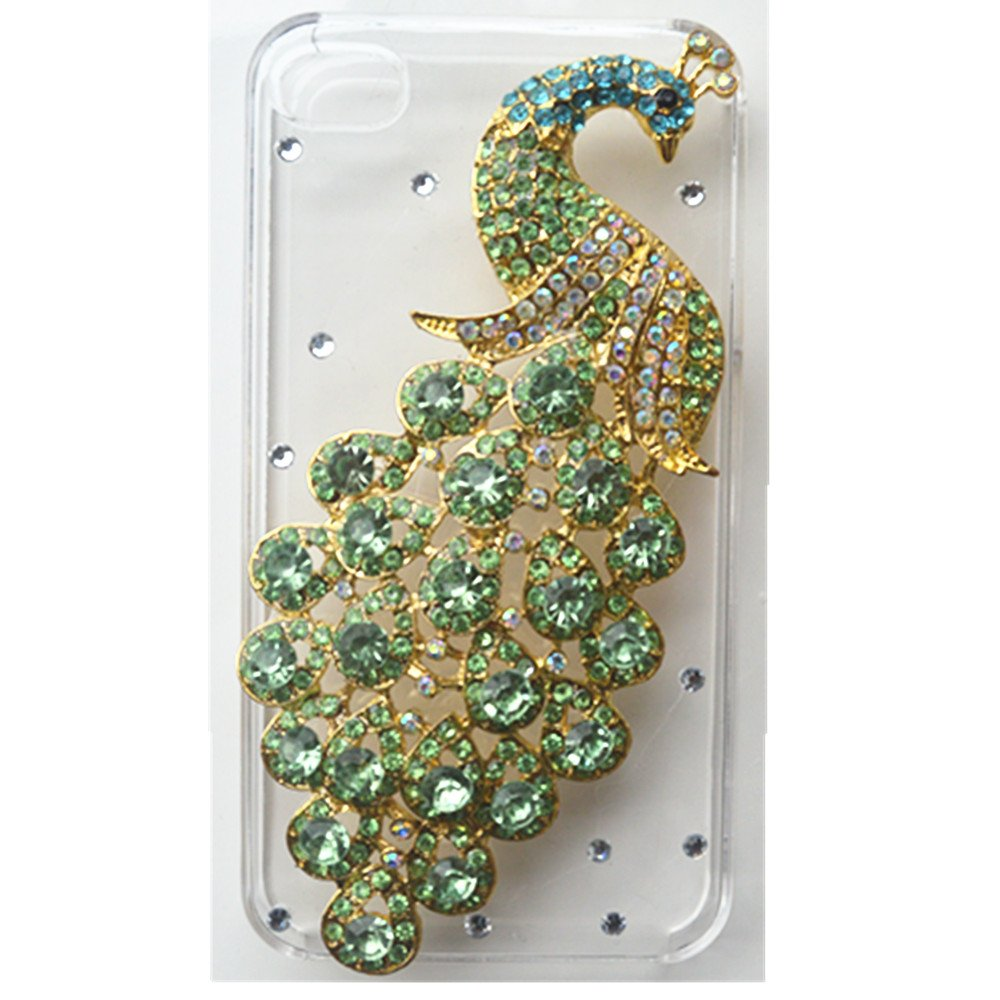 EVTECH(TM) 3D Handmade Bling Peacock Crystal Case Cover Faceplate for iPhone 5 / 5S T-Mobile Sprint AT&T Verizon(100% Handcrafted)