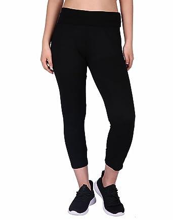 3e34b4a218 HDE Women's Yoga Capri Pants Color Block Fold Over Waist Workout Leggings ( Black, Small