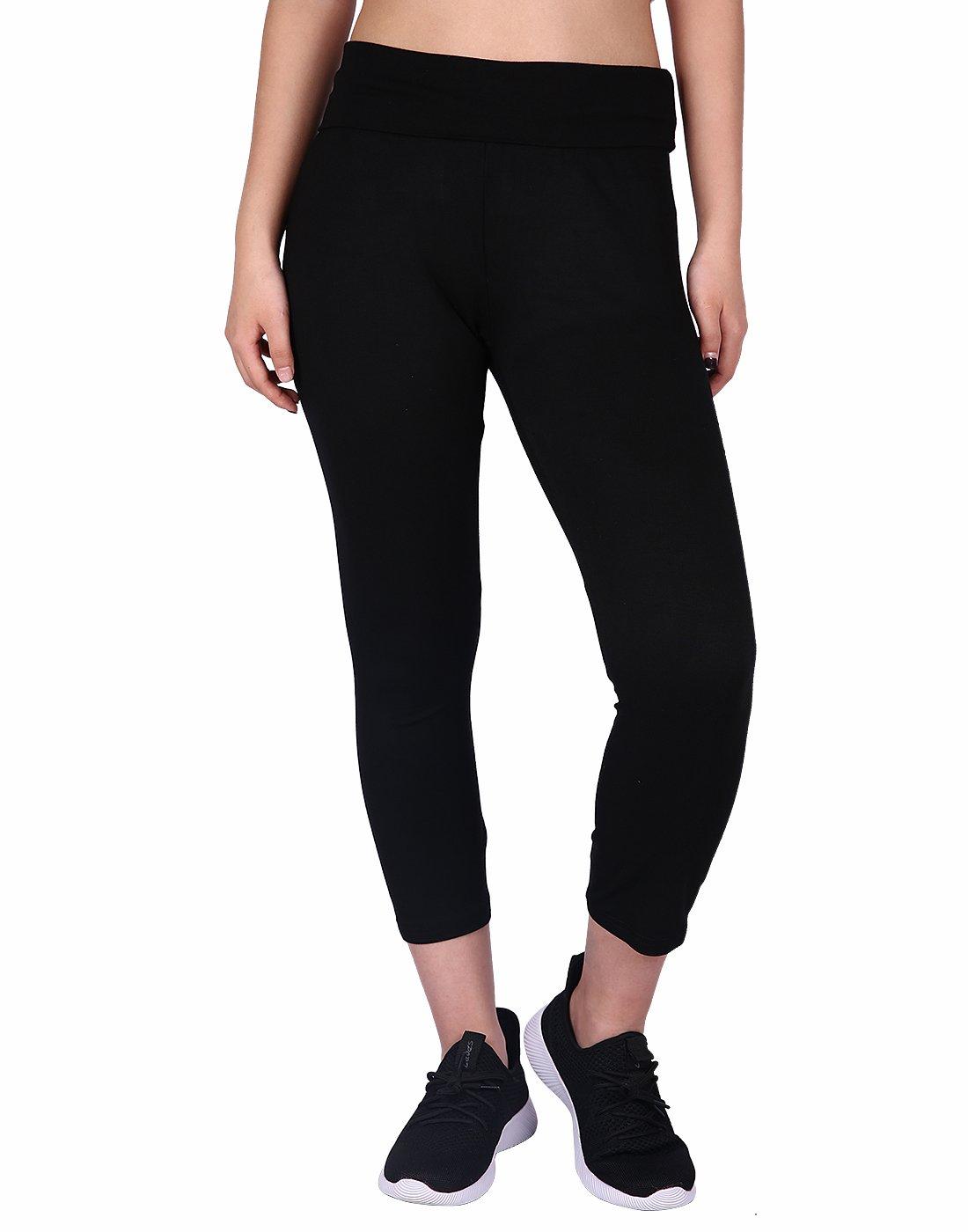 HDE Women's Yoga Capri Pants Color Block Fold Over Waist Workout Leggings (Black, X-Large)